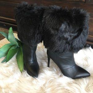 Black fur stiletto heel boot